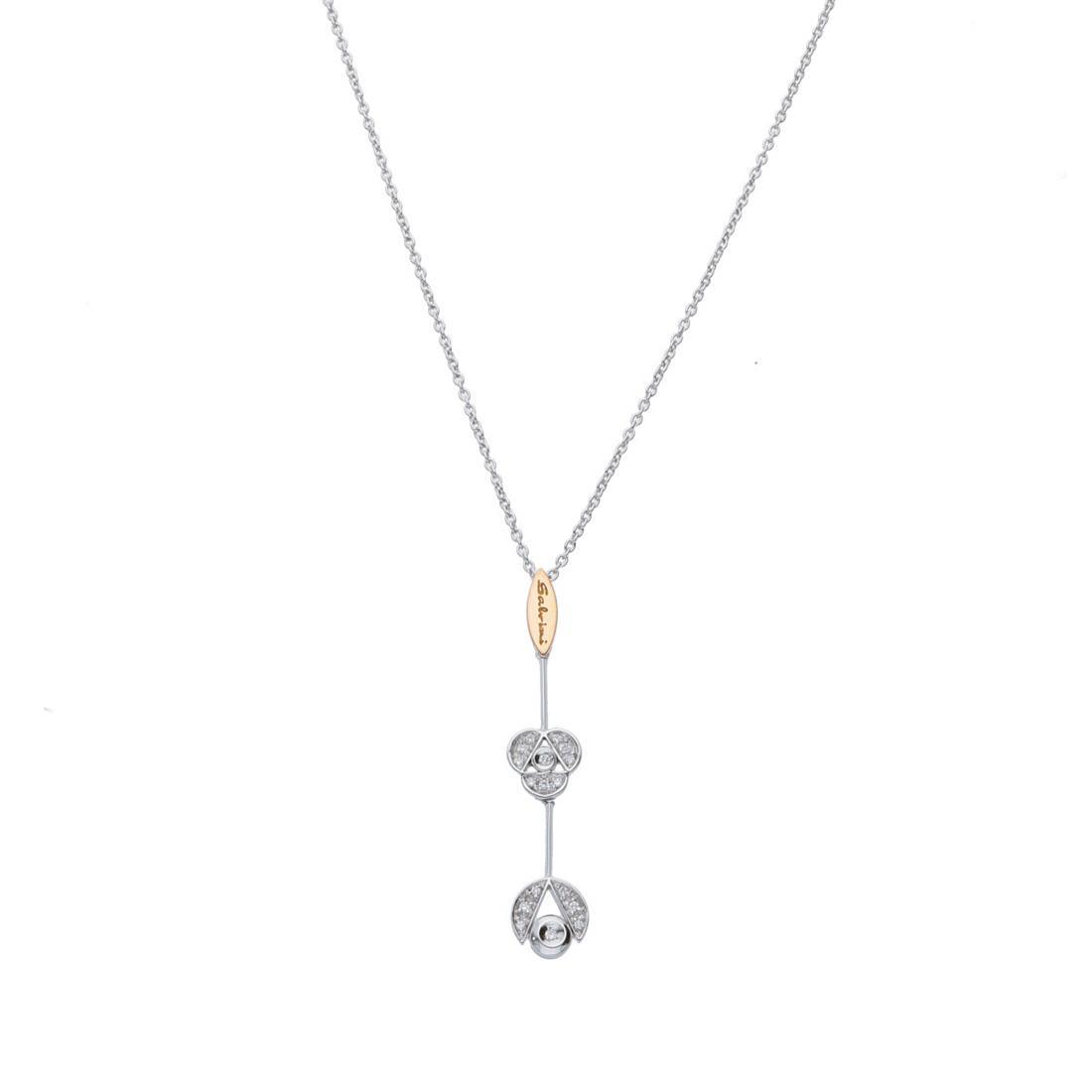 Collana in oro bianco con pendente con diamanti - SALVINI