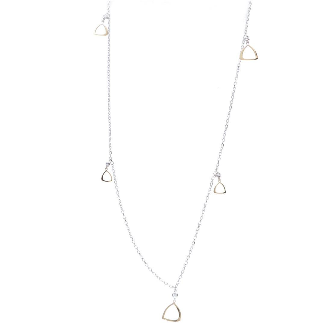 Collana lunga in oro bianco e giallo con diamanti - ALFIERI & ST. JOHN