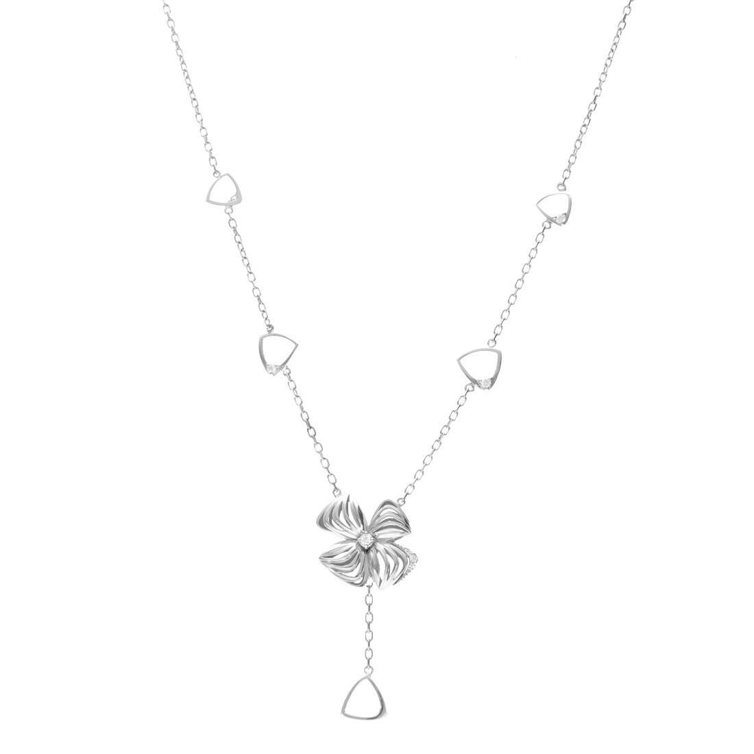 Collana in oro bianco con fiore e diamanti  - ALFIERI & ST. JOHN