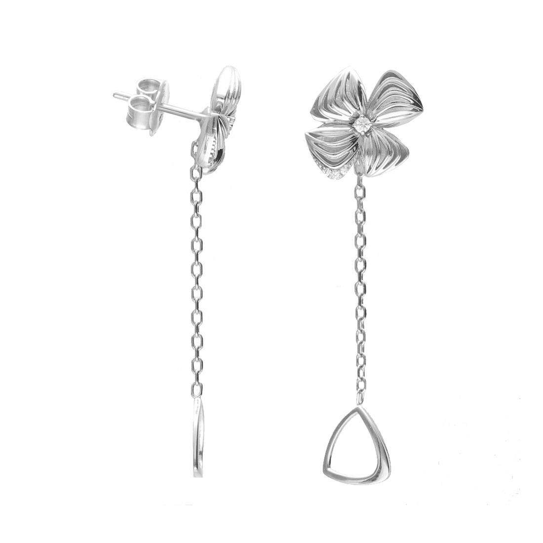 Orecchini in oro bianco con fiore e diamante - ALFIERI & ST. JOHN