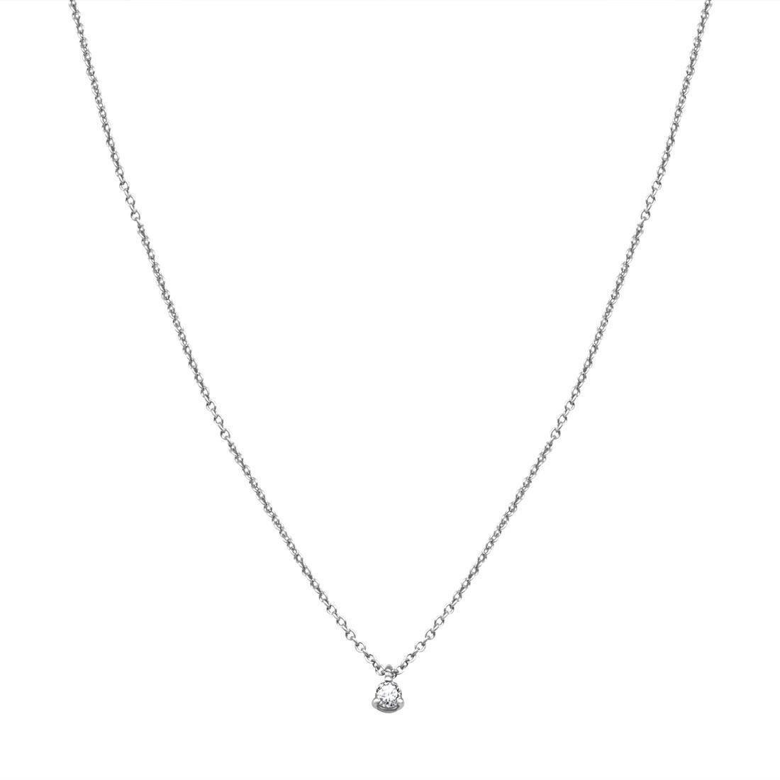 Pendente 3 griffes in oro bianco con diamante ct 0.10 - ALFIERI & ST. JOHN