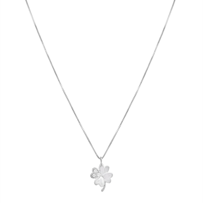 Collana in oro bianco con quadrifoglio - ORO&CO