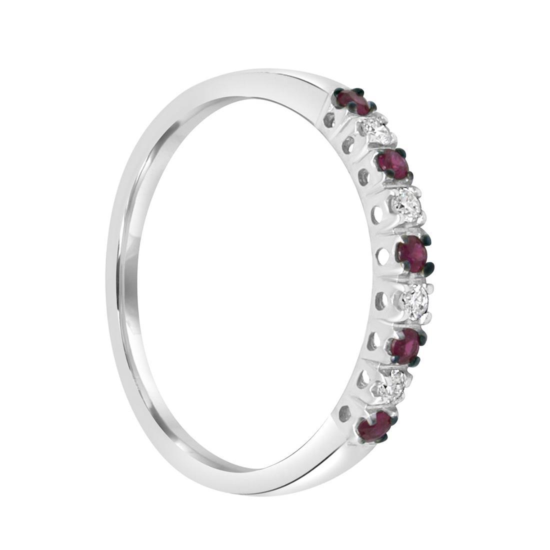 Anello in oro bianco con diamanti e rubini - ALFIERI & ST. JOHN