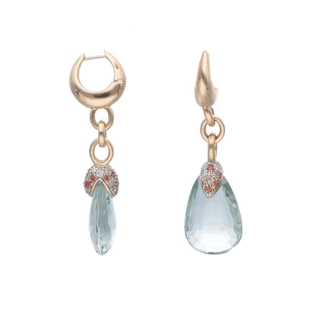Orecchii pendenti con prasiolite e diamanti - POMELLATO