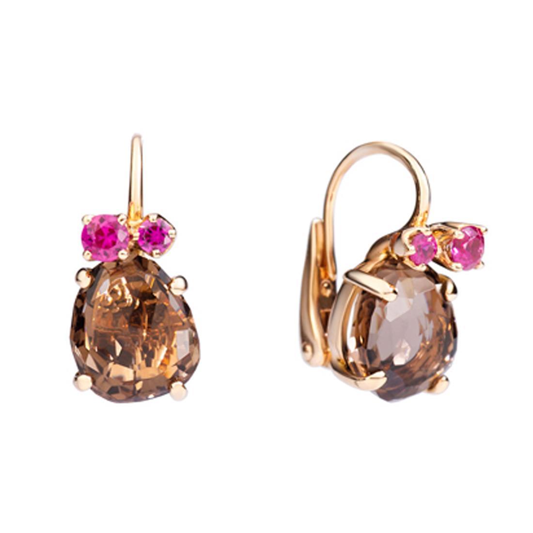Orecchini in oro rosa con pietre preziose - POMELLATO