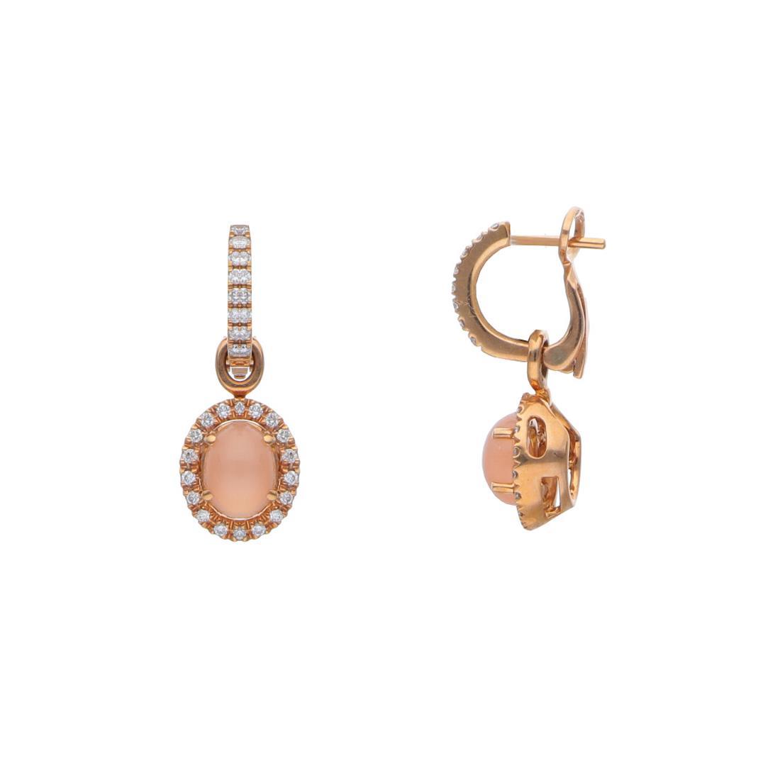Orecchini pendenti con diamanti e moonstone - ALFIERI & ST. JOHN