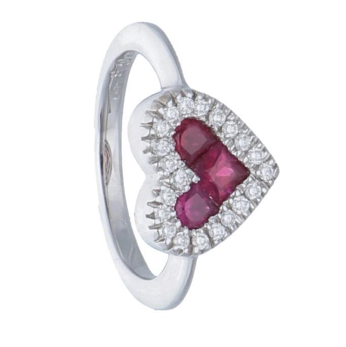 Anello cuore con diamanti e rubino - ALFIERI & ST. JOHN