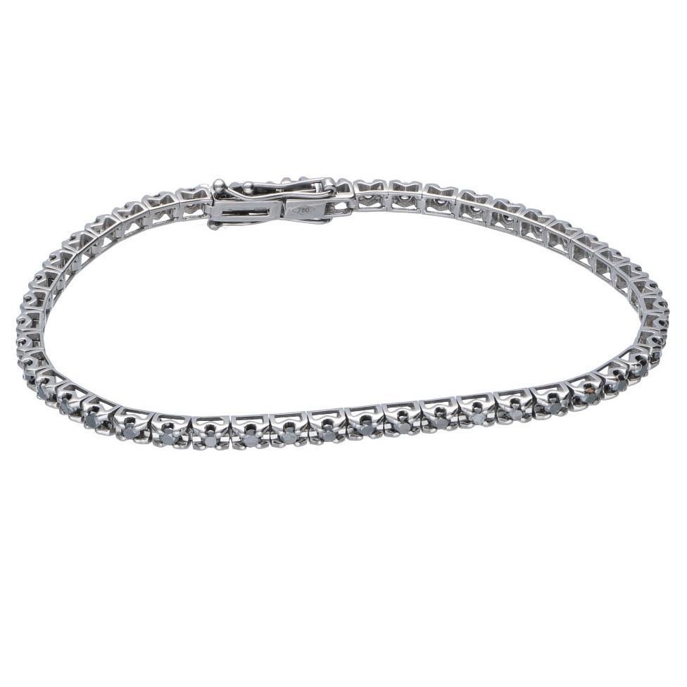 Bracciale tennis con diamanti neri - ORO&CO