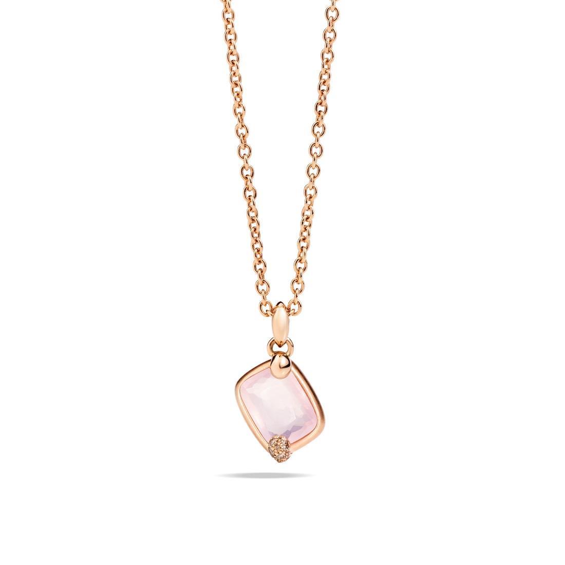 Colgante con cuarzo rosa y diamantes - POMELLATO