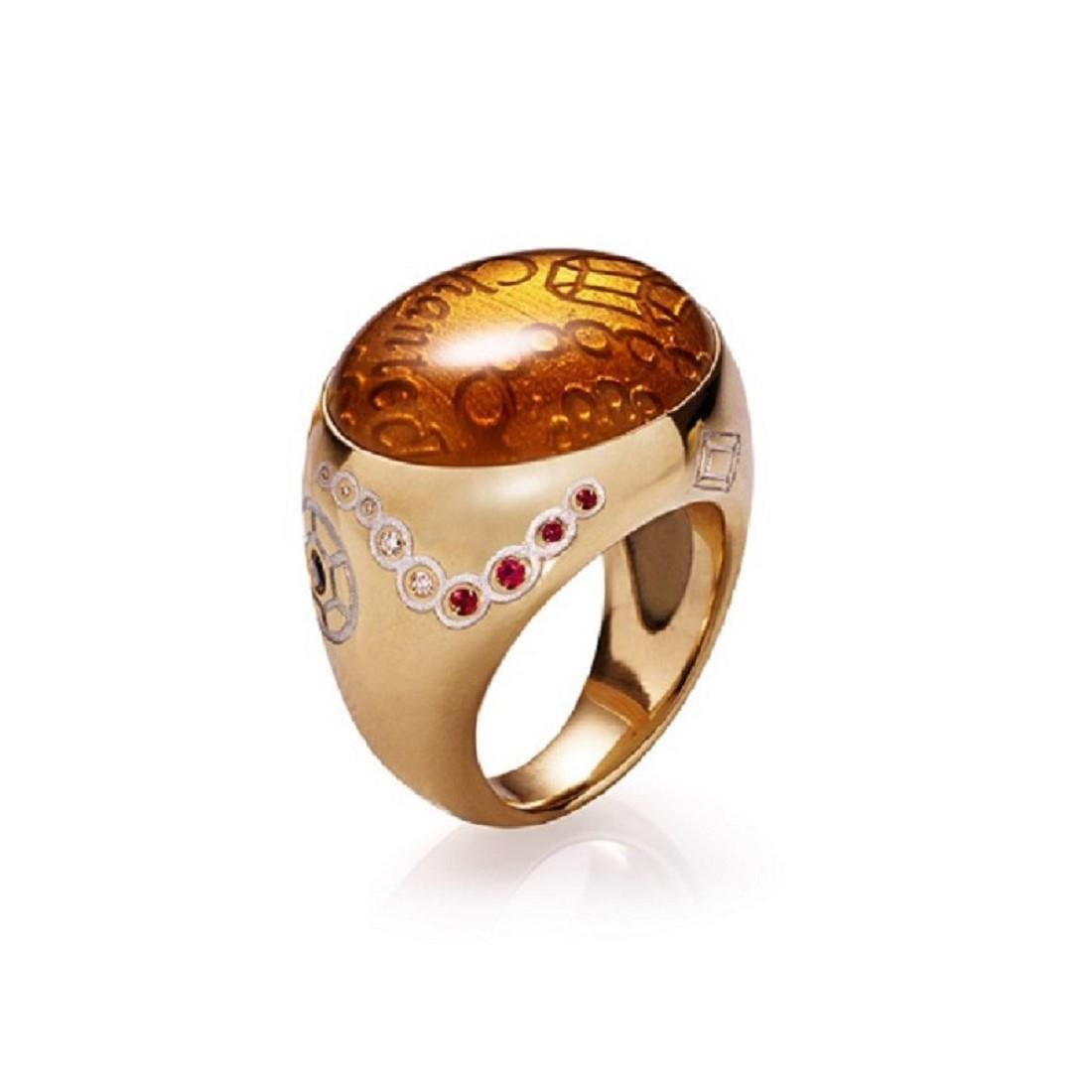 Ring with diamonds and precious stones - CHANTECLER