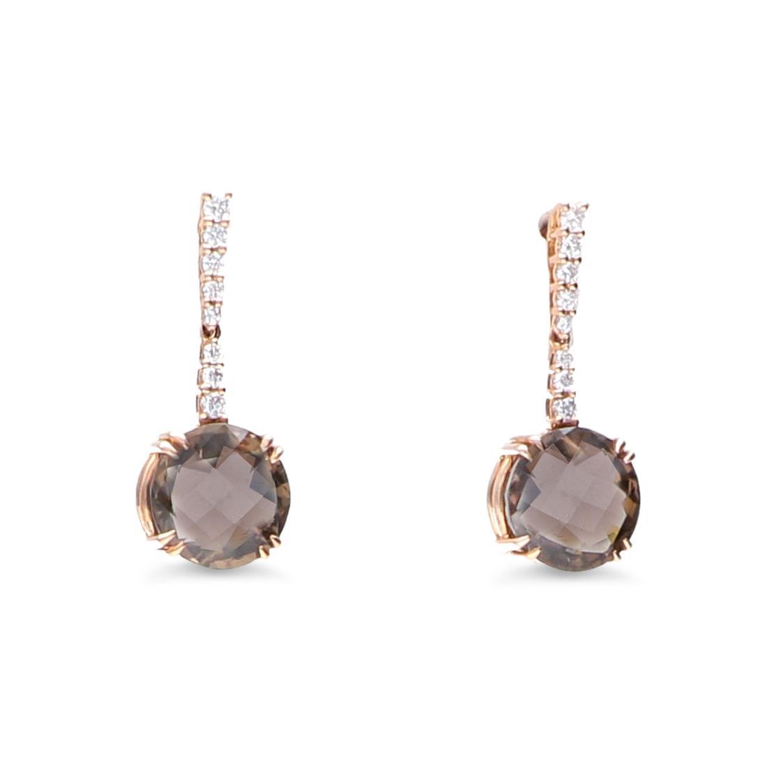 Orecchini con diamanti e quarzo fumè - ALFIERI & ST. JOHN