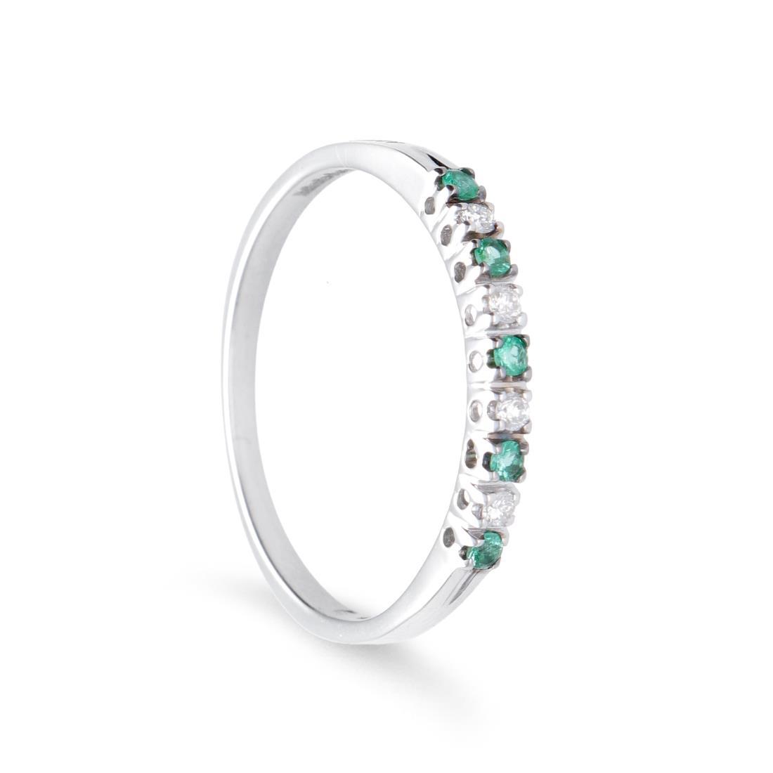 Anello veretta con smeraldi e diamanti - ALFIERI & ST. JOHN