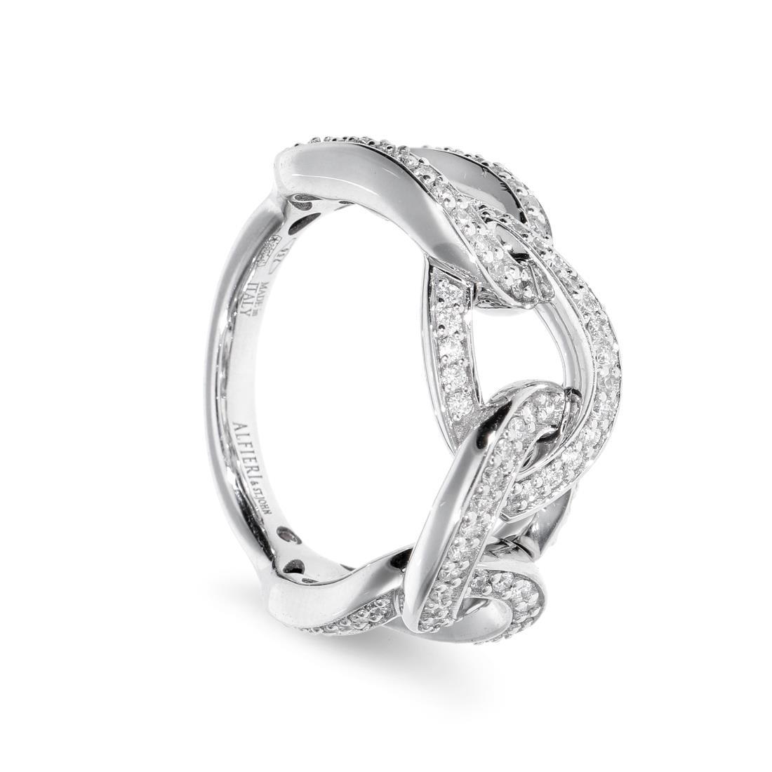 Anello a catena in  oro bianco e diamanti - ALFIERI & ST. JOHN