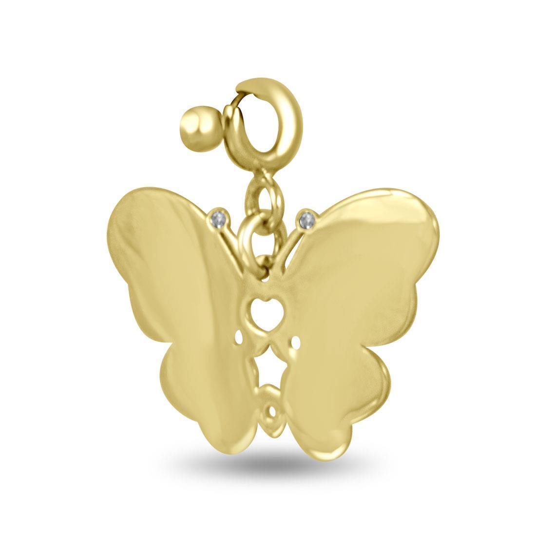 Ciondolo in oro giallo design farfalla con diamante ct 0.01 - PASQUALE BRUNI