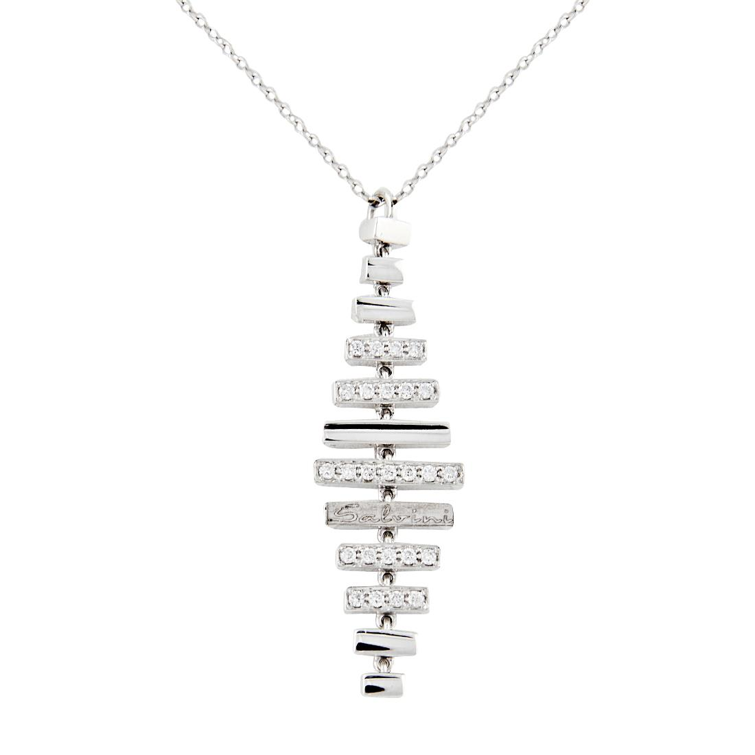Collana in oro bianco e diamanti ct 0.20 - SALVINI