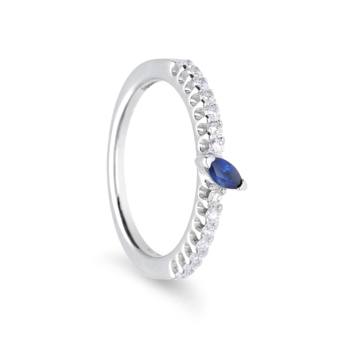 Anello con diamanti e zaffiro - ALFIERI & ST. JOHN