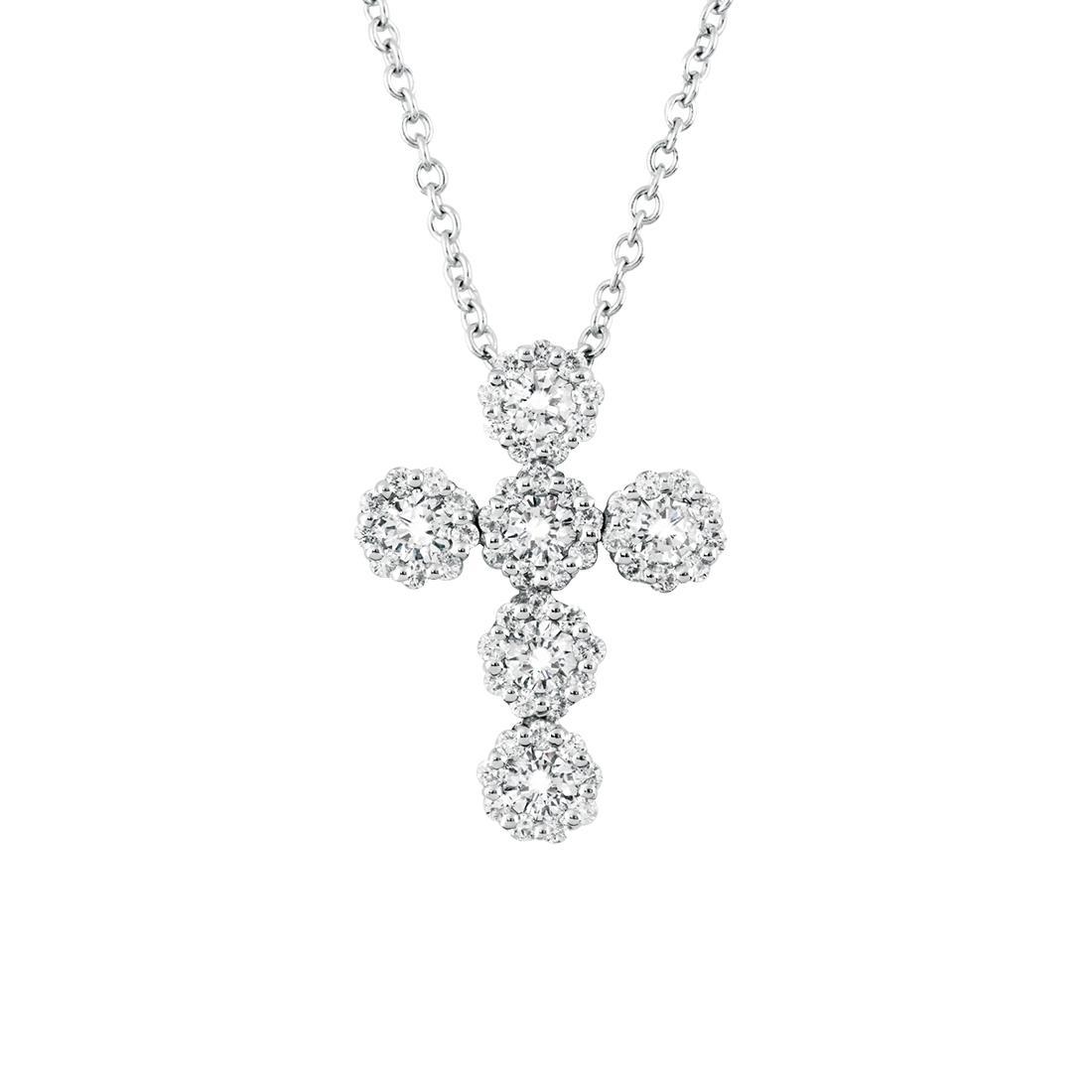 Collana in oro bianco con croce ct. 0,35 - SALVINI