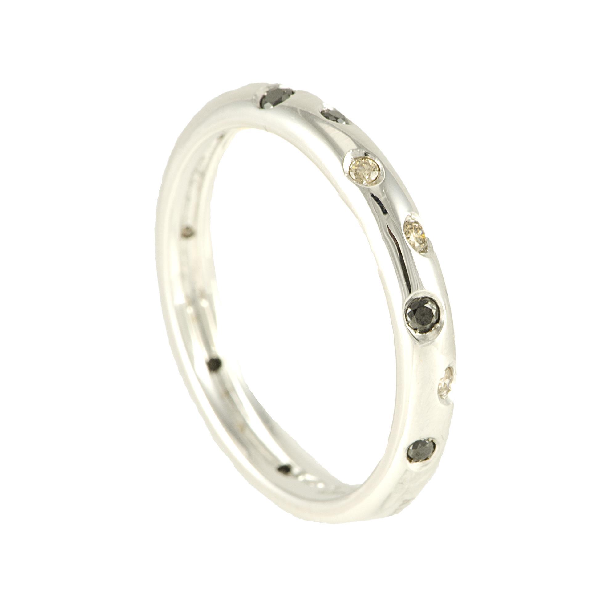 Anello fedina in oro bianco con diamanti neri e marroni mis 14 - ALFIERI ST JOHN