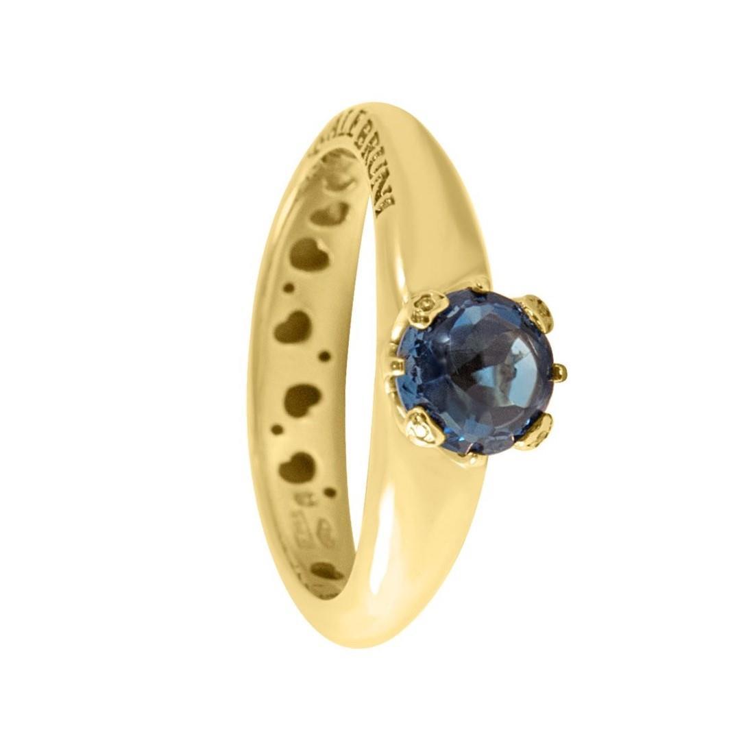 Anello in oro rosa con topazio blu e diamante ct 0.02, misura 13 - PASQUALE BRUNI
