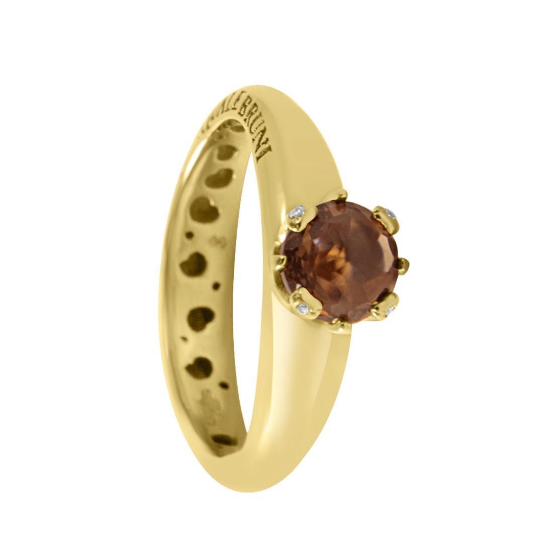 Anello in oro rosa con quarzo fumé e diamanti ct 0.02, misura 13 - PASQUALE BRUNI
