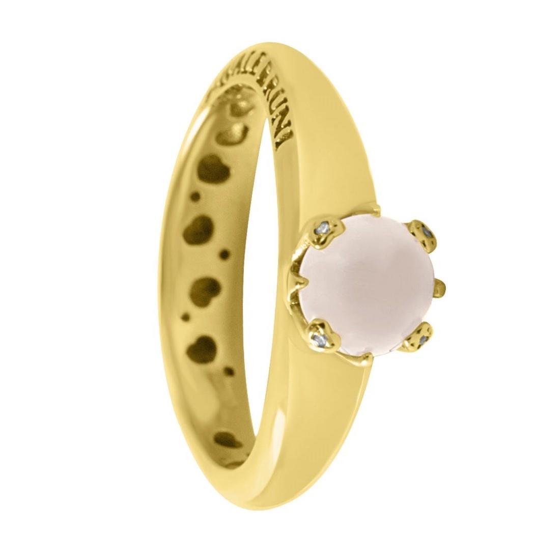 Anello in oro rosa con quarzo bianco e diamanti ct 0.01, misura 14 - PASQUALE BRUNI
