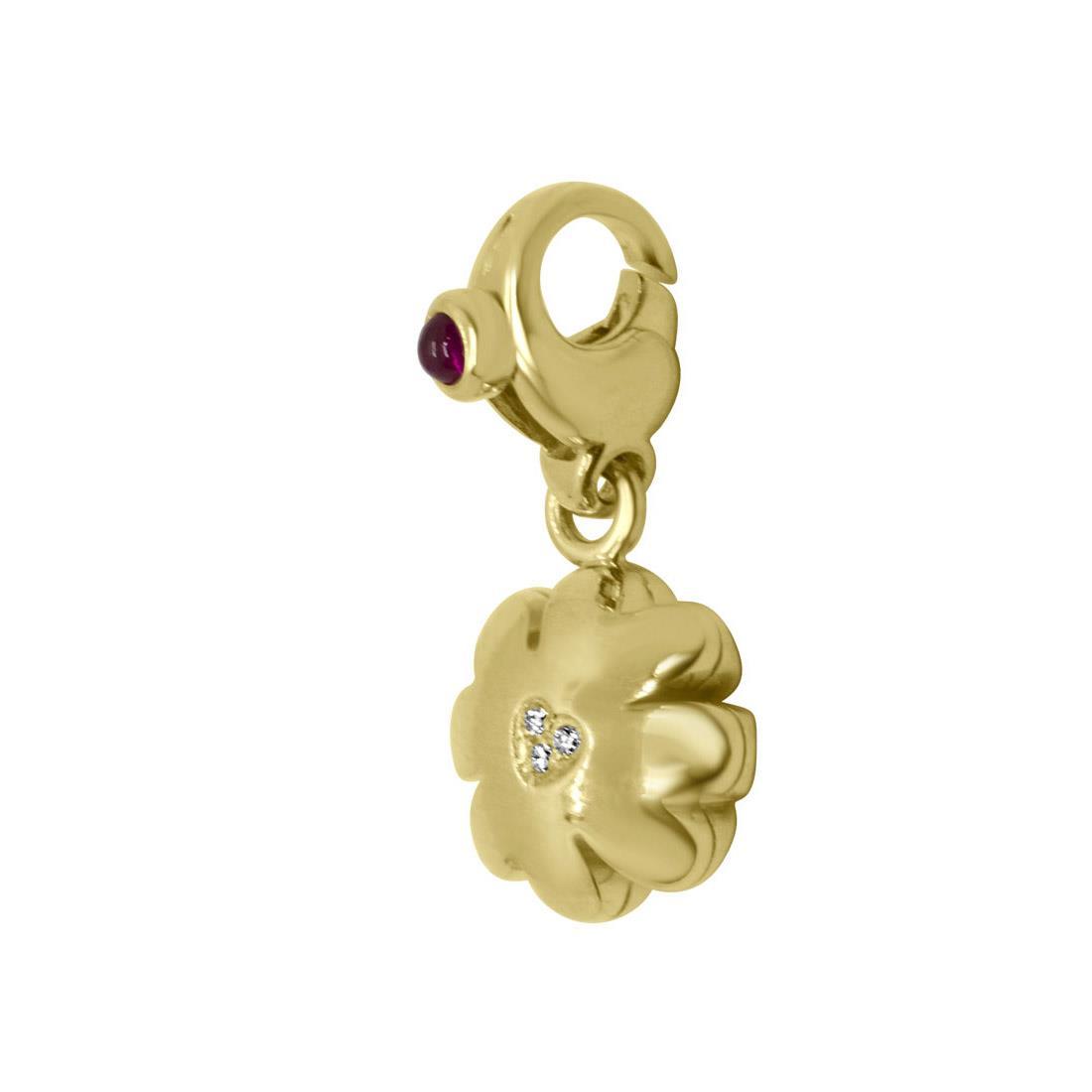 Ciondolo quadrifoglio in oro giallo con diamanti e rubini - PASQUALE BRUNI