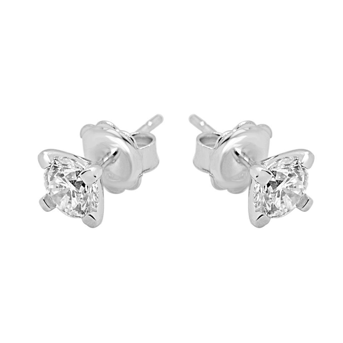 Orecchini punto luce in oro bianco con diamanti 1.40 ct - ALFIERI & ST. JOHN