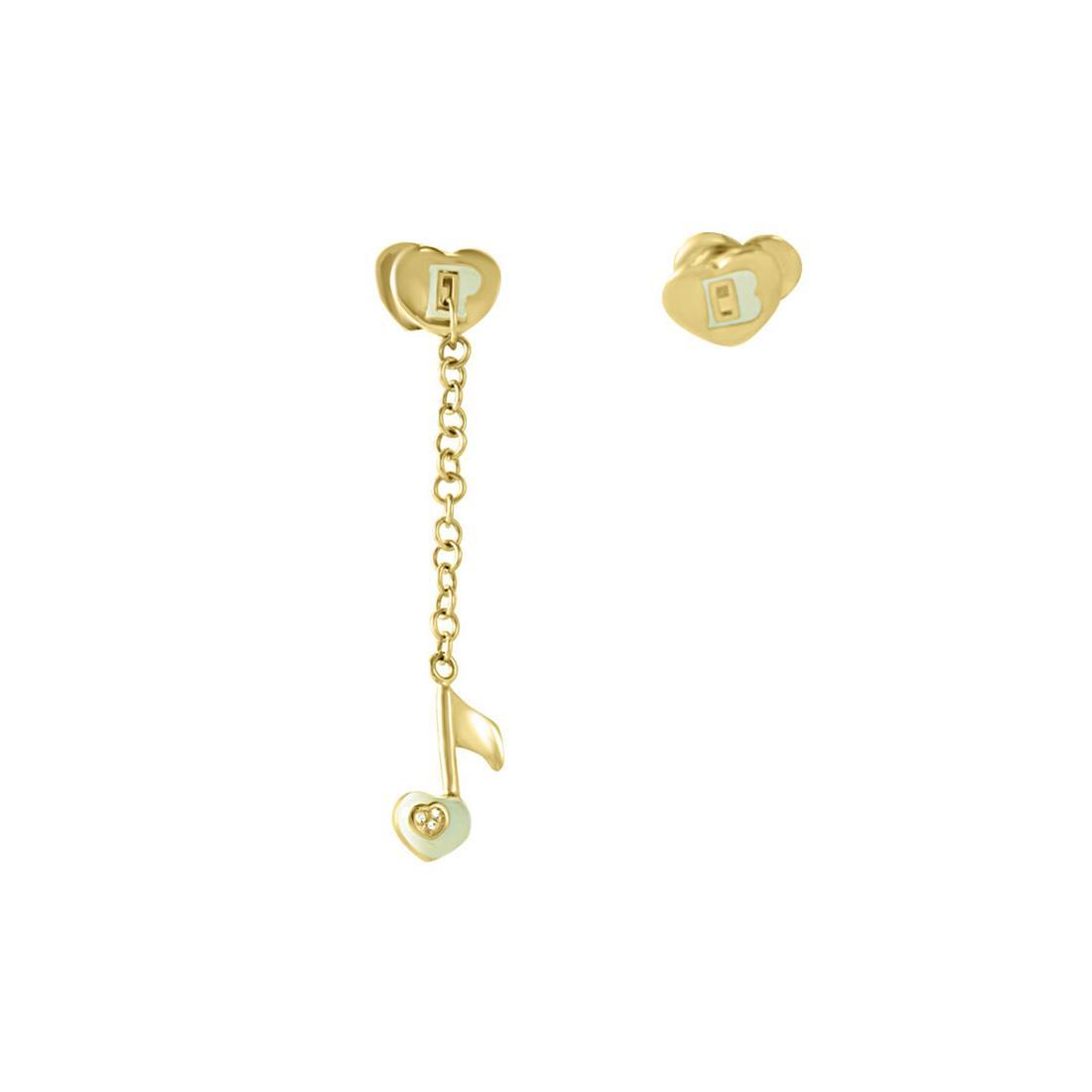 Orecchino in oro giallo con charm e rubino ct 0.01 - PASQUALE BRUNI
