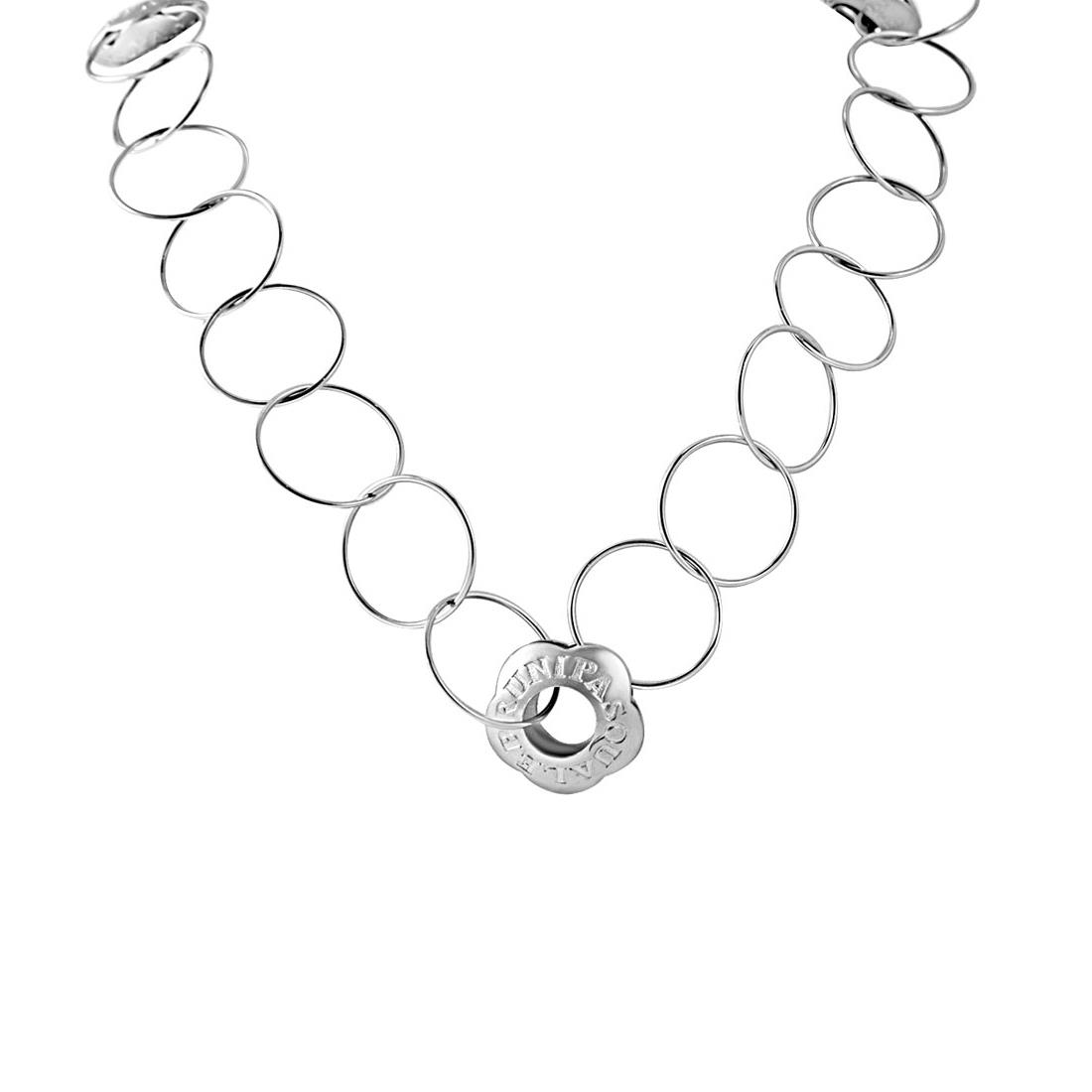 Collana in oro bianco con simboli tra catene  - PASQUALE BRUNI