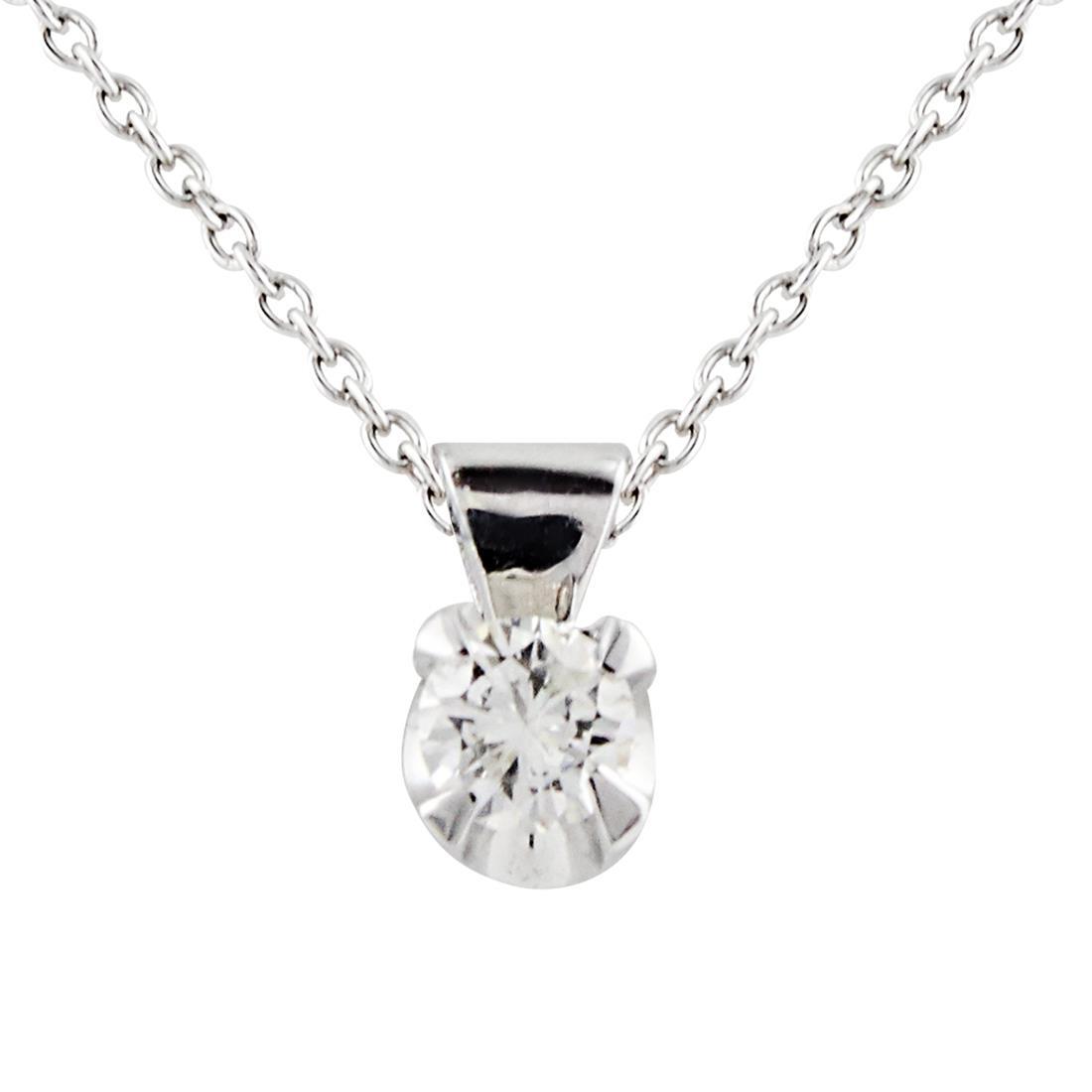 Collana punto luce in oro bianco e diamanti ct 0.17, lunghezza 44cm - ALFIERI & ST. JOHN
