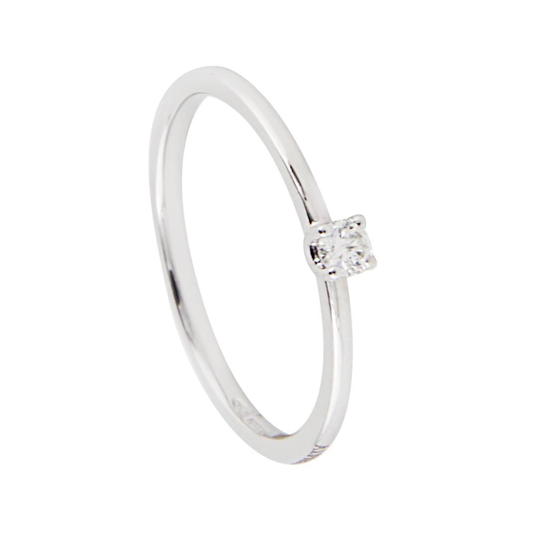 Anello solitario in oro bianco con diamante mis 14 - ALFIERI ST JOHN