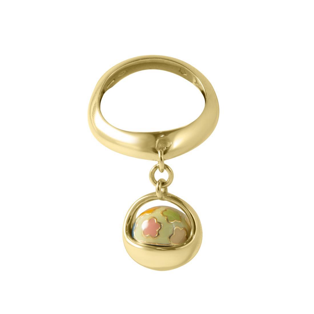 Anello i in oro giallo con smalto e diamante ct 0.01, misura 8 - PASQUALE BRUNI