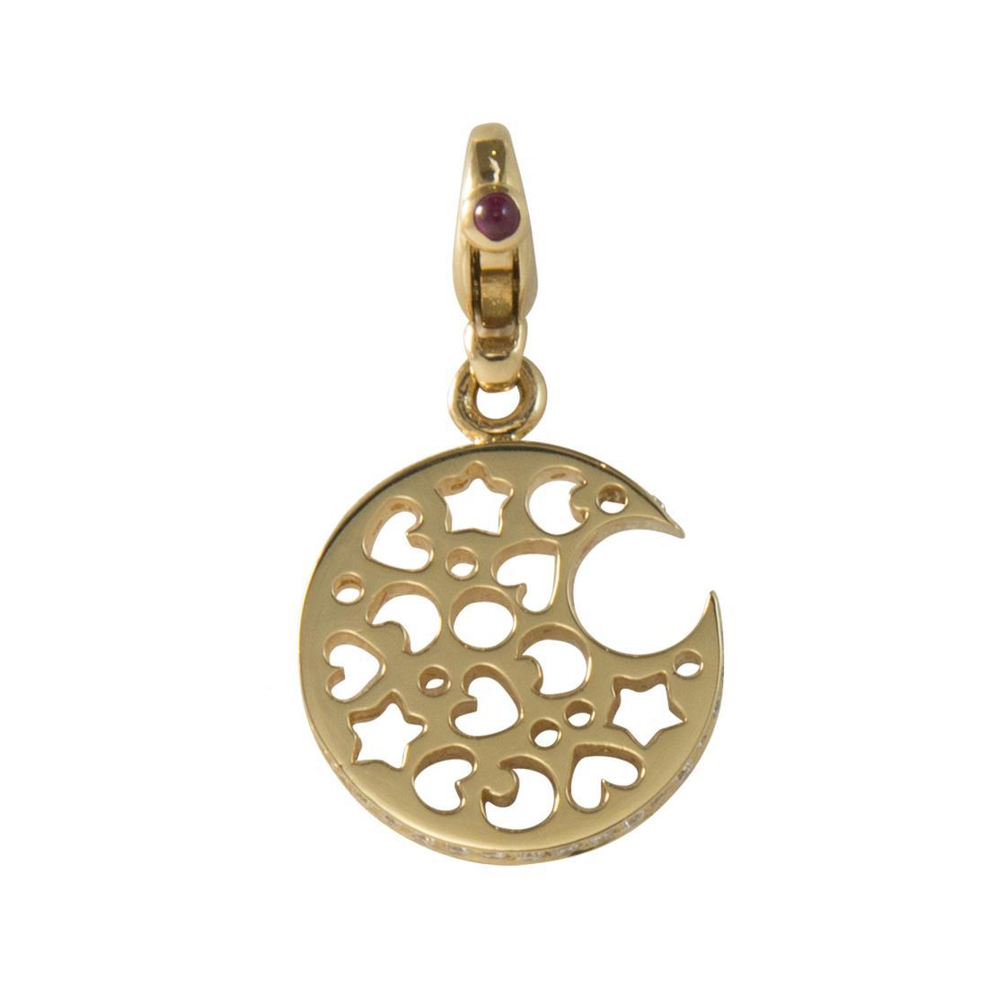 Ciondolo in oro giallo con diamanti ct 0.34 e rubini ct 0.06 - PASQUALE BRUNI
