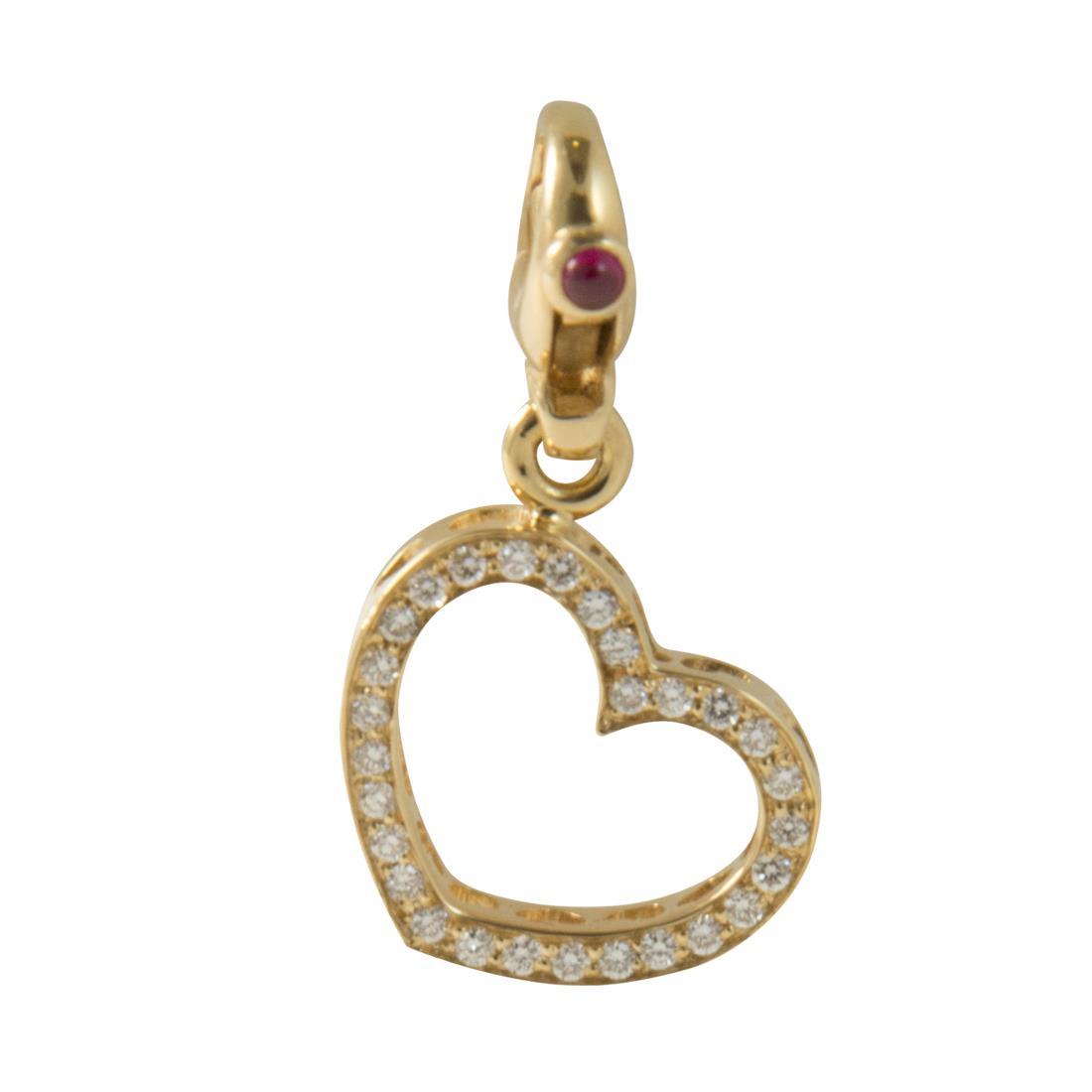 Ciondolo in oro giallo con diamanti ct 0.26 e rubini ct 0.06 - PASQUALE BRUNI