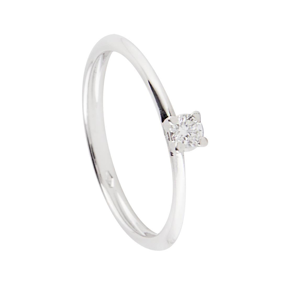 Anello solitario in oro bianco con diamante ct 0,10, mis 14 - ORO&CO