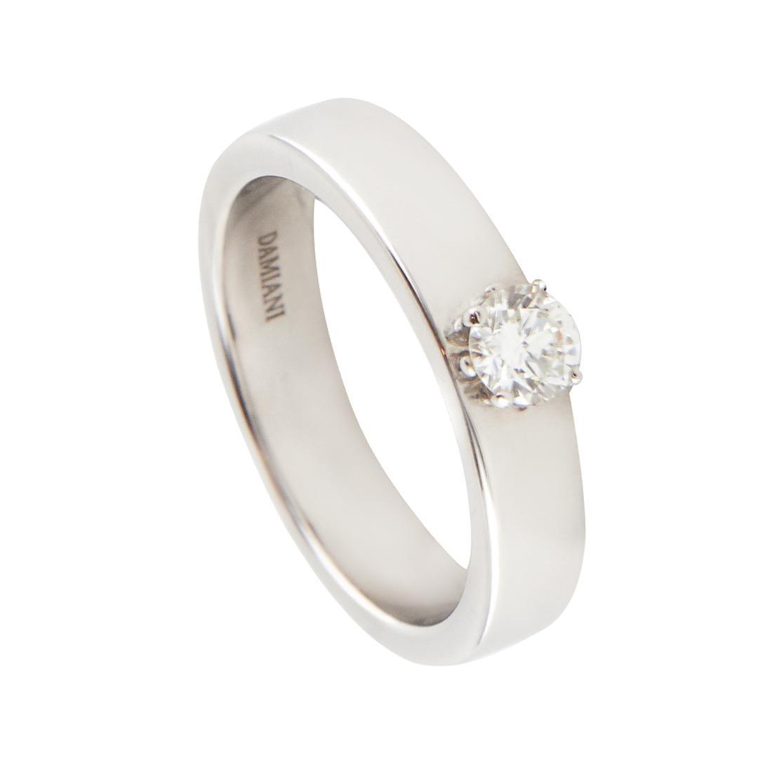 Anello in oro bianco con diamante ct 0.30 colore H, misura 15 - DAMIANI