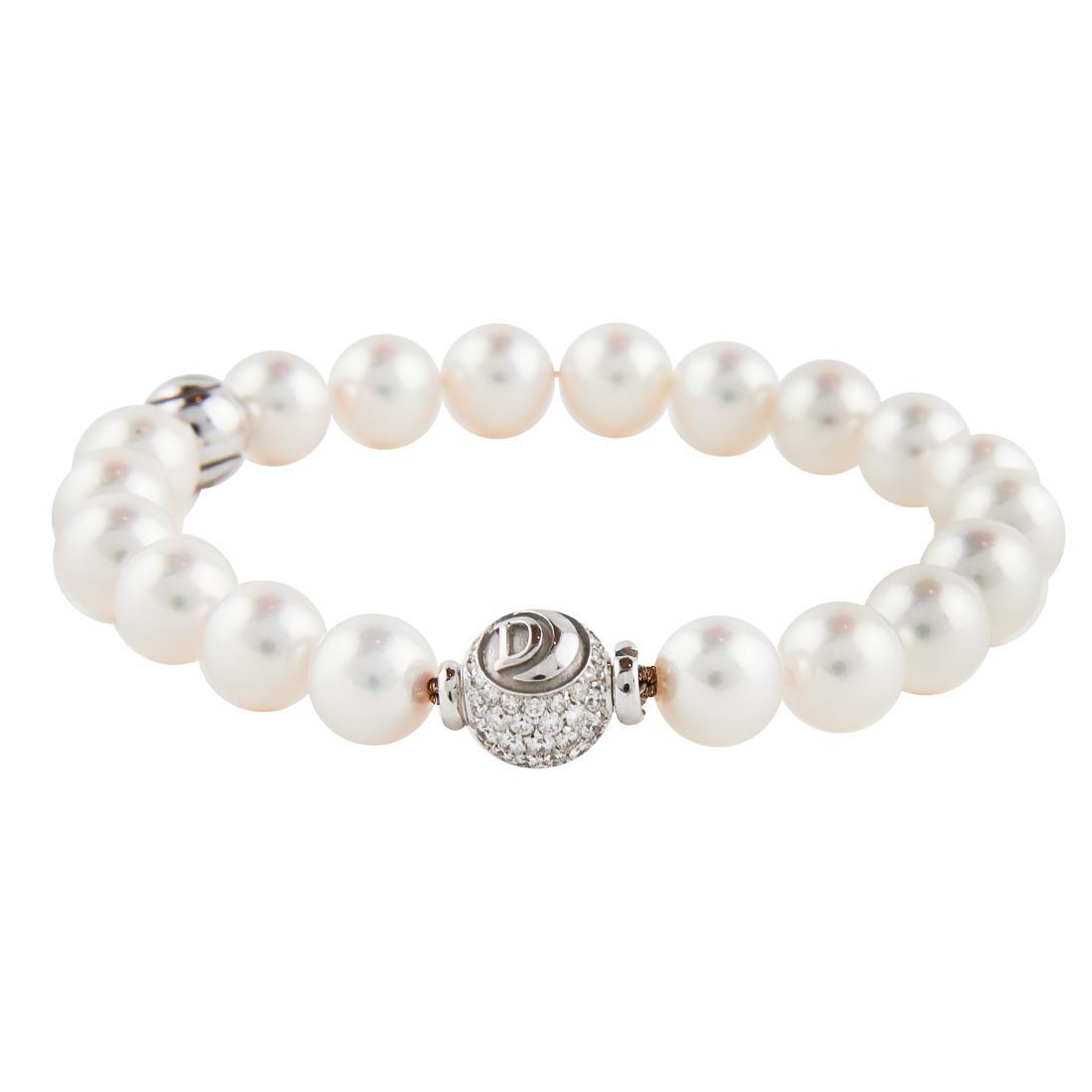 Bracciale di perle e oro bianco con diamanti ct 0.88 - DAMIANI