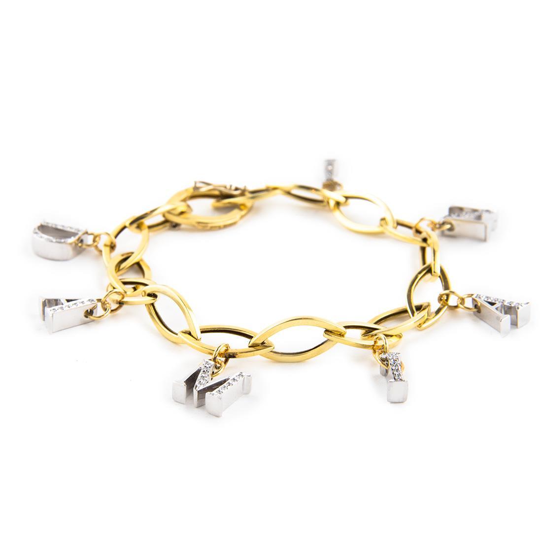 Bracciale in oro giallo e bianco con diamanti ct 0.24 - DAMIANI
