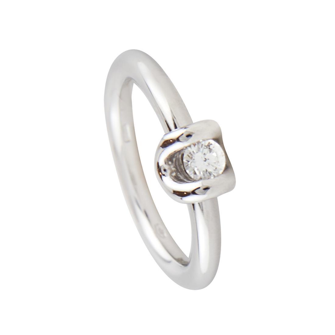 Anello solitario in oro bianco con diamante ct 0.21 - DAMIANI