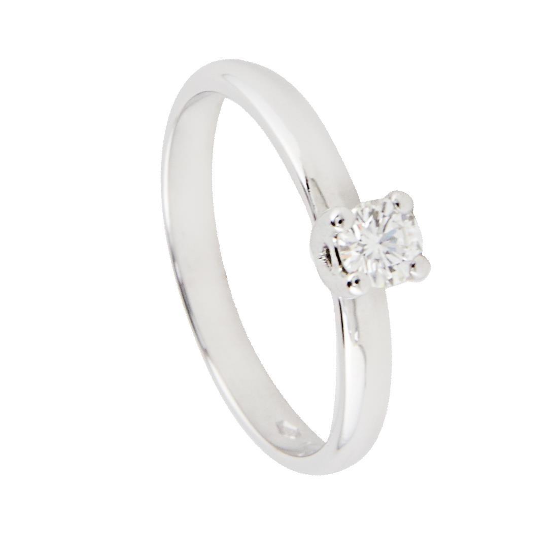 Anello solitario in oro bianco con diamante ct 0.22 colore G, purezza VS1, misura 13 - ALFIERI & ST. JOHN