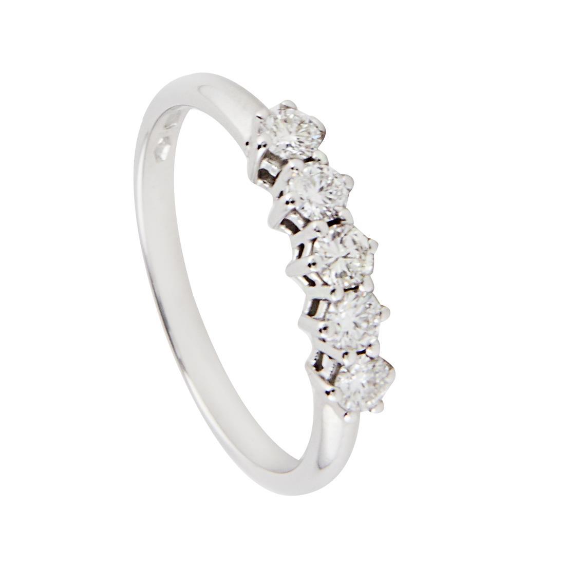 Anello veretta 5 pietre in oro bianco e diamanti ct 0.44, misura 14 - ALFIERI & ST. JOHN