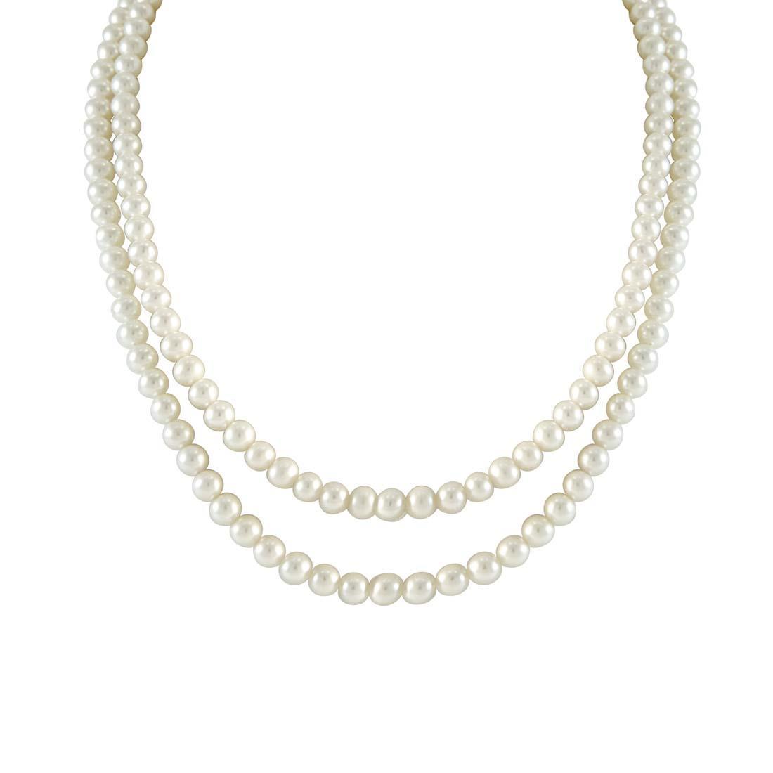 Collana Oro & Co filo di perle Freshwater con chiusura in oro 18 kt gr 1,32 lunghezza 84 cm - ORO&CO