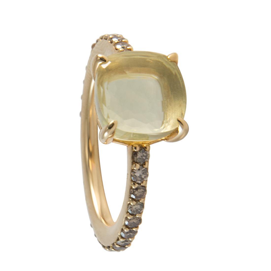 Anello in oro rosa con quarzo lemon e diamanti brown ct 0.78, misura 14 - POMELLATO