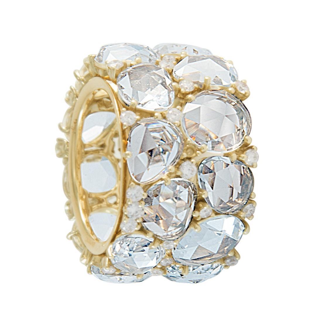 Anello Pomellato Lulù in oro rosa, con topazi azzurri e diamanti ct 1,08. Misura 14 - POMELLATO