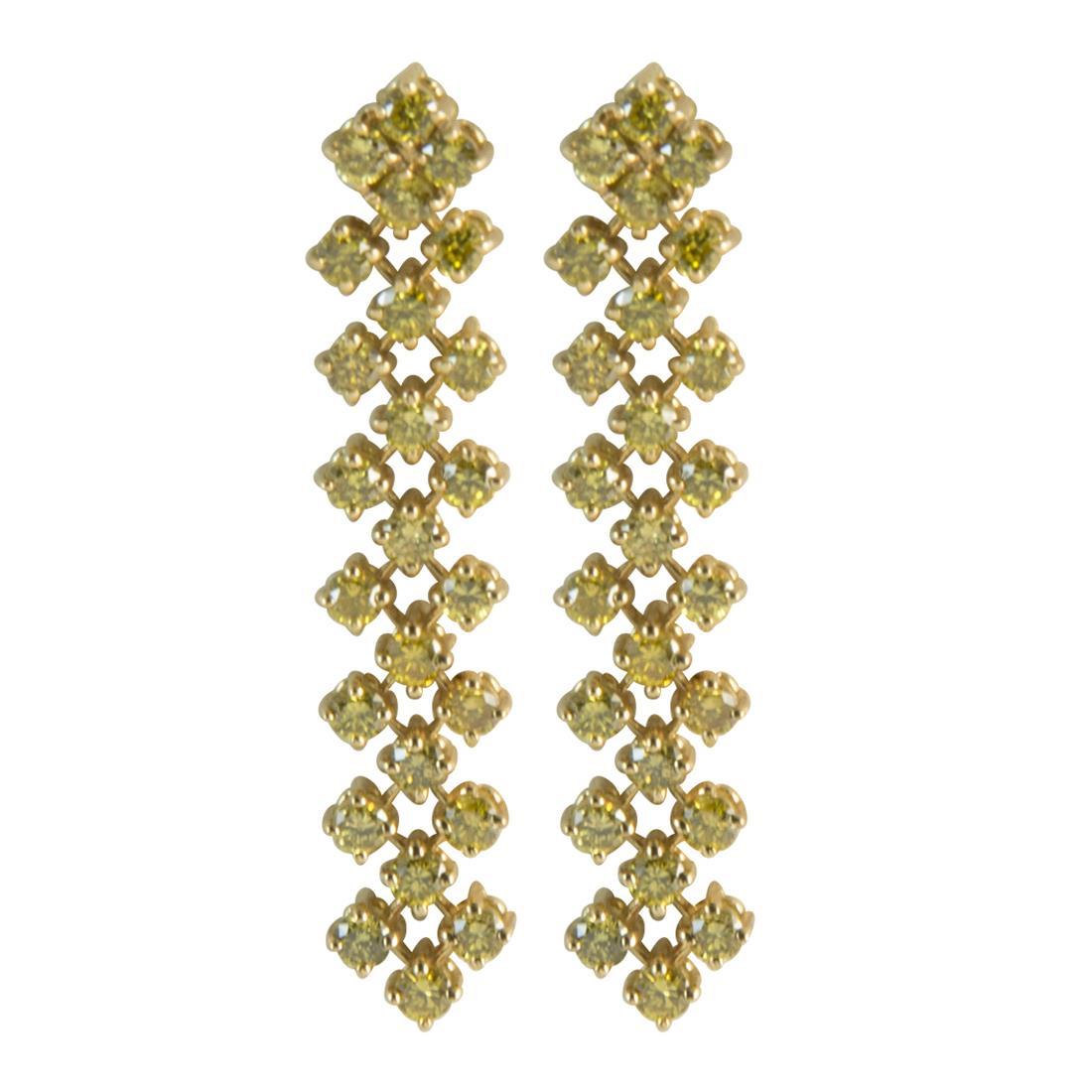 Orecchini  in oro giallo 3 file con diamanti gialli ct 1.35 misura 6.00cm - ALFIERI ST JOHN