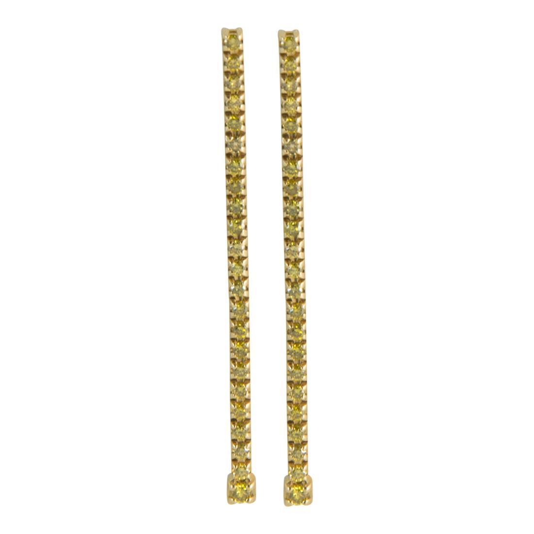 Orecchini 1 fila in oro giallo con diamanti gialli ct 1.20 misura 10.00cm - ALFIERI ST JOHN