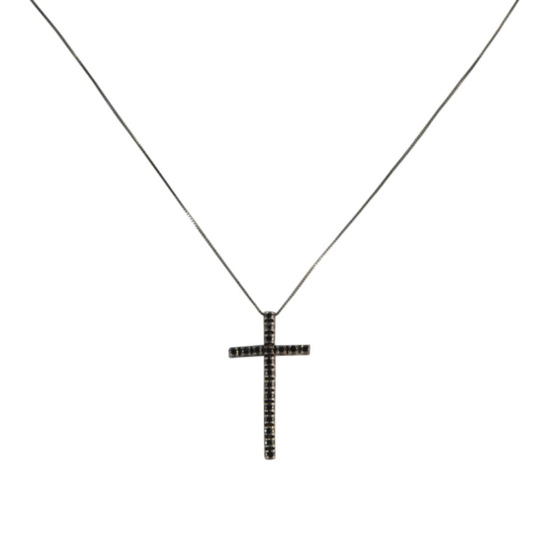 Ciondolo in oro con diamanti neri ct 0.30 misura 3.80cm - ALFIERI ST JOHN