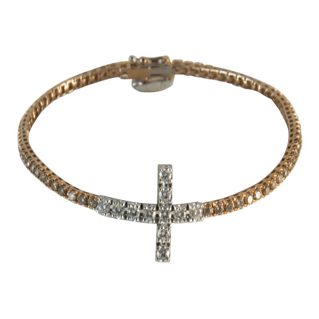 Bracciale  in oro 18kt misura 18.50cm con diamanti ct 0.65 e diamanti brown ct 1.85 - ALFIERI ST JOHN