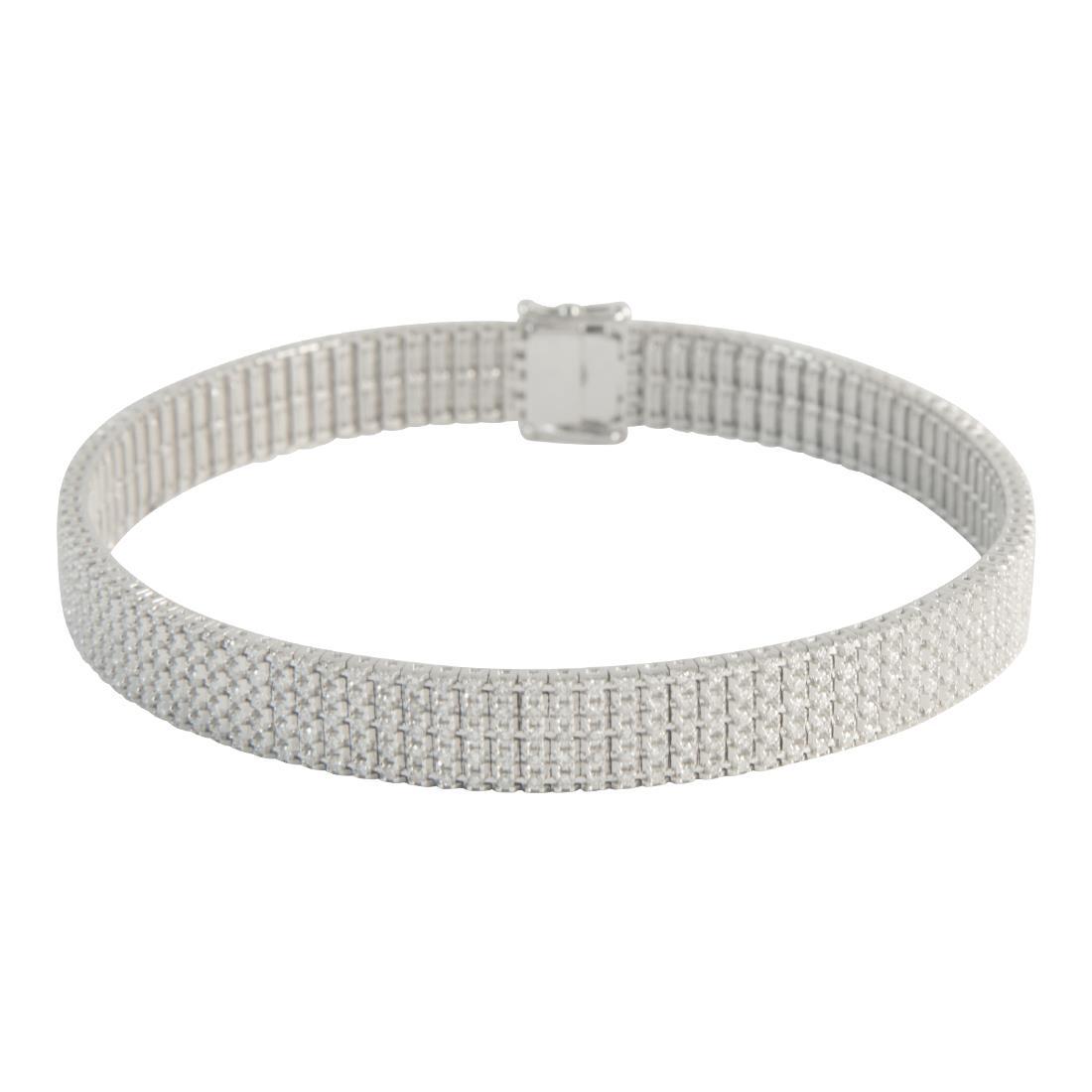 Bracciale  unito 5 file in oro bianco misura 18cm con diamanti ct 2.80 - ALFIERI ST JOHN