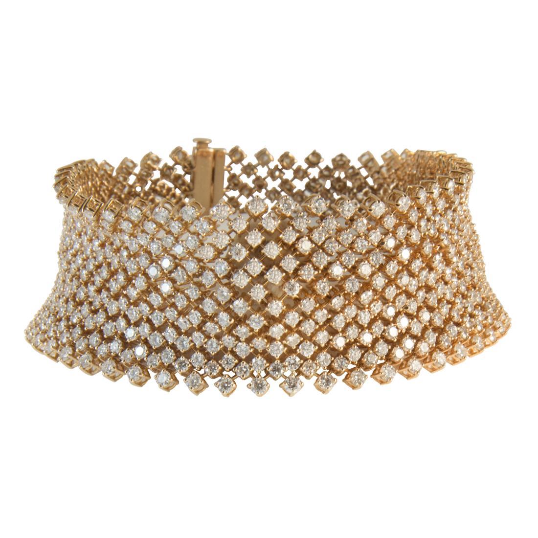 Bracciale in oro rosa con diamanti ct 18.50 - ALFIERI ST JOHN